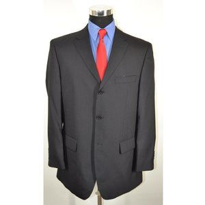 Linea 42R Sport Coat Blazer Suit Jacket Black Stri